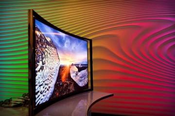 tv met een gebogen beeld