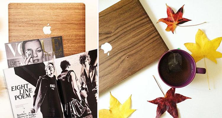 houten cover voor macbooks