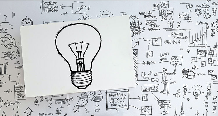 Ideeën op een muur geschreven