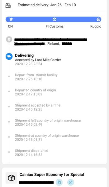 Een screenshot van de track & trace informatie van het pakketje van Anne.