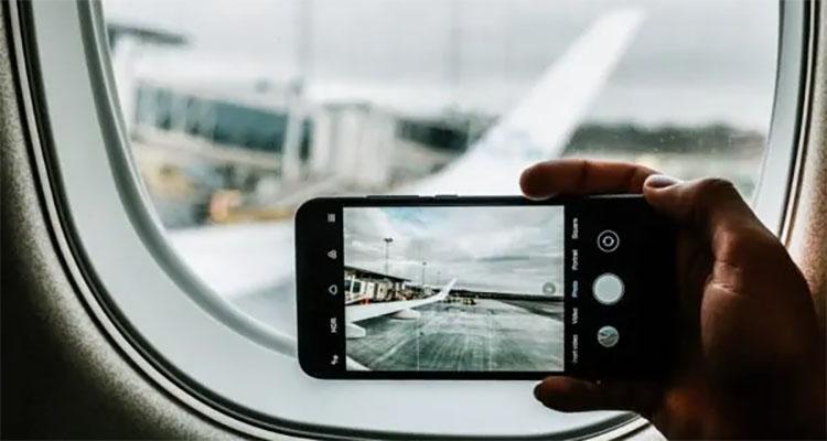 Foto in vliegtuig
