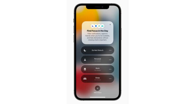 Focus functie van iOS15 op iPhone 12